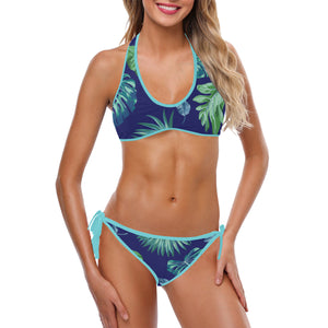 Plus Size Designer Tropical Palm Leaves Aqua Blue Custom Halter & Side Tie Bikini Swimsuit