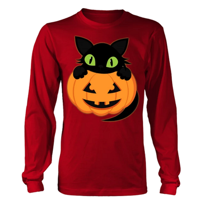 Plus Size Halloween Shirt - Long Sleeve - Cute Kitten & Pumpkin