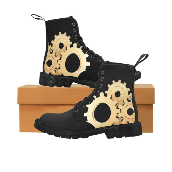 Steampunk Gears Designer Women's Combat Hiking Boots Women's Lace Up Canvas Boots