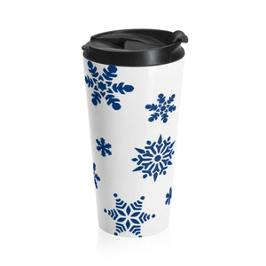 Holidays Winter Snowflake Insulated Stainless Steel Travel Mug - 15oz