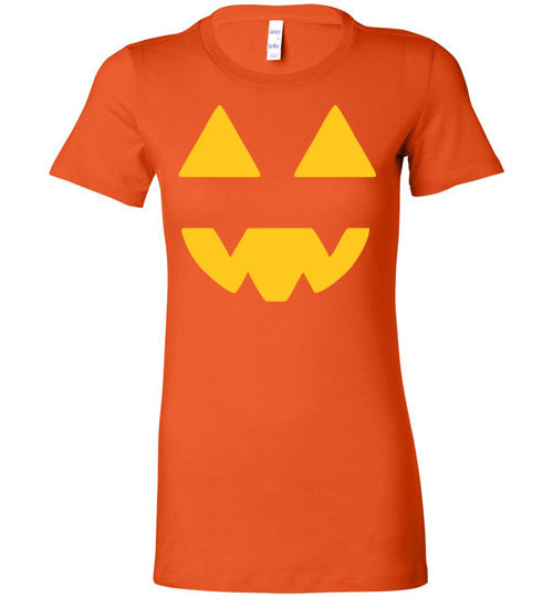Halloween Pumpkin Lit Jack O Lantern Bella Ladies Favorite Graphic Tee Tshirt