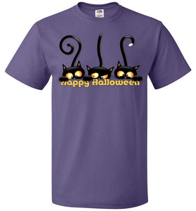Plus Size Tee 3 Cats Playing With Happy Halloween - Fruit Of The Loom