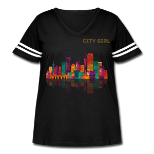 City Girl Gold Glitter Women's Curvy Vintage Sport T-Shirt By LAT - US Sizes 14-28