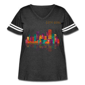 City Girl Women's Curvy Vintage Sport T-Shirt Sizes 18-28 - vintage smoke/white