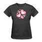 Plus Size Cotton T-Shirt With Bursting Valentine's Day Hearts - heather black