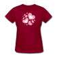 Plus Size Cotton T-Shirt With Bursting Valentine's Day Hearts - dark red