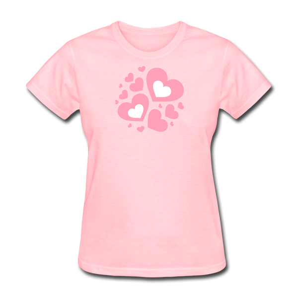Plus Size Cotton T-Shirt With Bursting Valentine's Day Hearts - pink