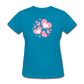 Plus Size Cotton T-Shirt With Bursting Valentine's Day Hearts - turquoise