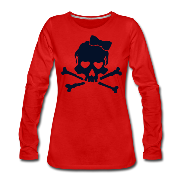 Plus Size Glitter Sugar Skull Women's Premium Long Sleeve T-Shirt - red