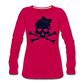 Plus Size Glitter Sugar Skull Women's Premium Long Sleeve T-Shirt - dark pink