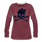 Plus Size Glitter Sugar Skull Women's Premium Long Sleeve T-Shirt - heather burgundy