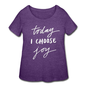 Today I Choose Joy - Plus Size Ladies' Curvy T-Shirt Dark - LAT - Sizes 1X - 4X