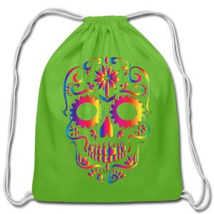 Sugar Skull Rainbow Cotton Drawstring Backpack Bag - clover