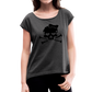 Plus Size Designer Women's Sugar Skull Roll Cuff T-Shirt - heather black