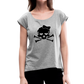 Plus Size Designer Women's Sugar Skull Roll Cuff T-Shirt - heather gray