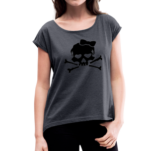 Plus Size Designer Women's Sugar Skull Roll Cuff T-Shirt - navy heather