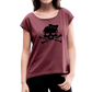 Plus Size Designer Women's Sugar Skull Roll Cuff T-Shirt - heather burgundy