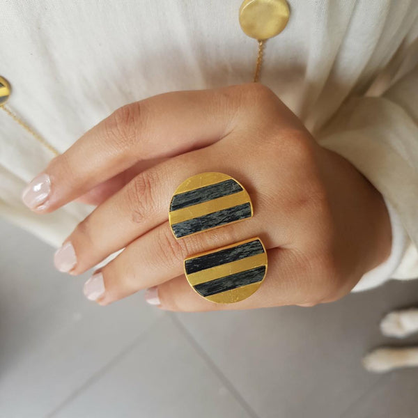 Gold and Black Stripe Ring