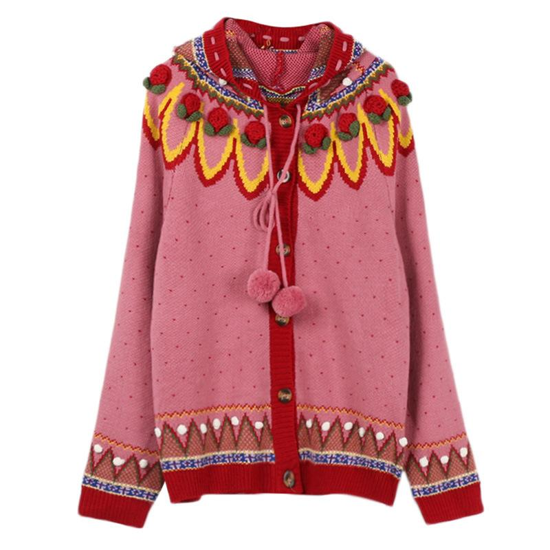 Fall Winter Retro Handmade 3D Flower Hooded Sweaters Cardigan For Women