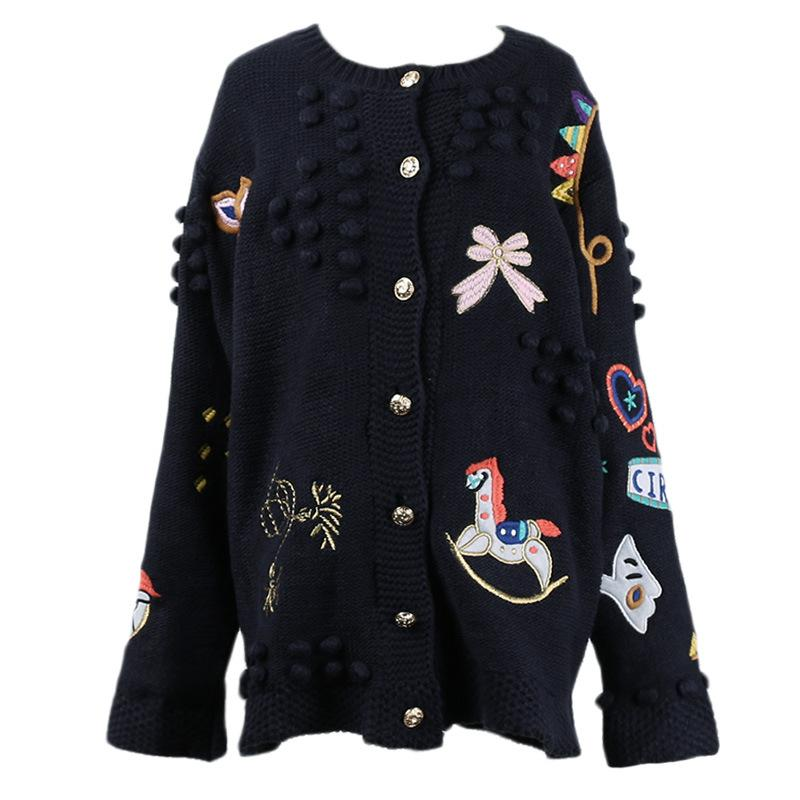 Fall Winter Fancy Handmade Beautiful Embroidery Sweaters Cardigan For Women
