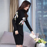 Elegant Flower Embroidery Bodycon Turtle Neck Knit Sweater Dresses For Women