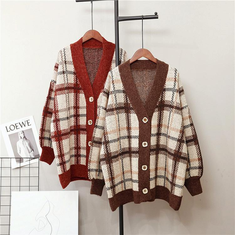 Fall Winter Retro Geometric Loose Knit Sweaters Cardigan For Women