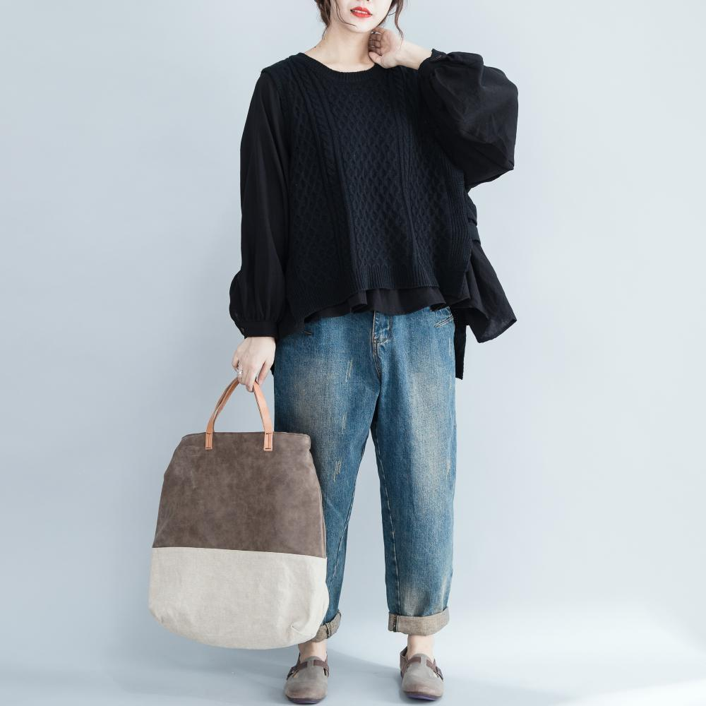 Fall Winter Vintage Loose Patchwork Knit Sweaters Tops For Women