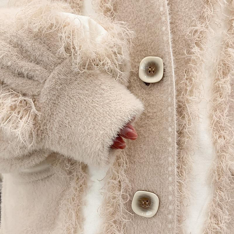 Fall Winter Fur Fancy Mink-like Knit Loose Cardigan Coats For Women