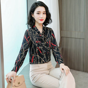 Fall Luxury Printed Bowknot Long Sleeve Shirt Women Tops