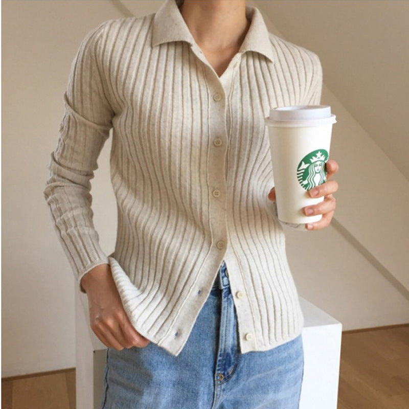 Fall Winter Vintage Warm Wool Solid Color Knit Cardigan Sweaters Women