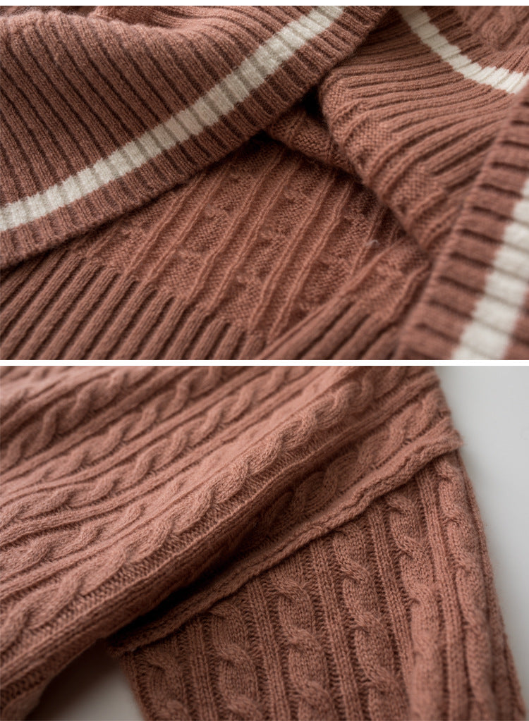 Fall Winter Casual Warm Wool Color Blocking Loose Knit Sweaters Women