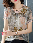 Summer Retro Printed Short Sleeve Striped Silk T-shirt Crew Neck Tops