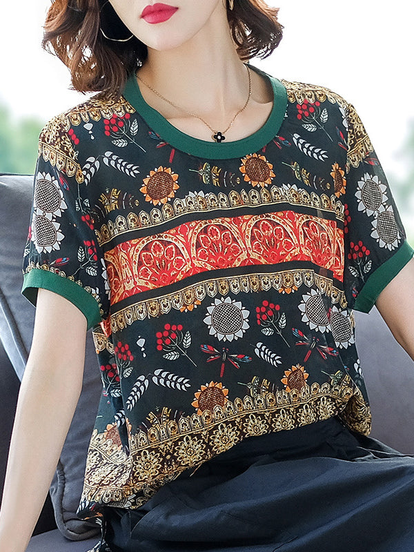 Summer Retro Sunflower Printed Silk Loose T-shirt Crew Neck Tops