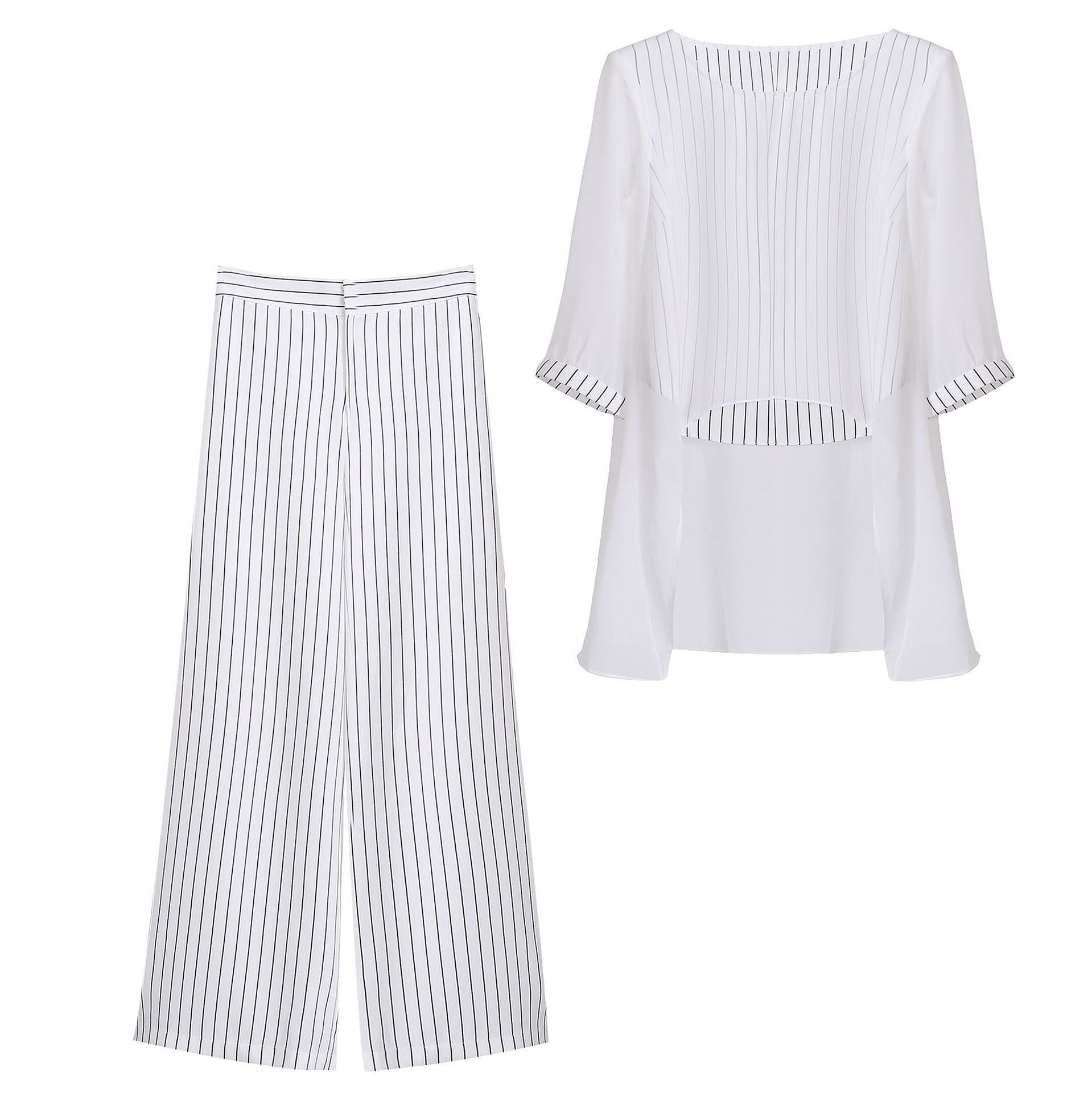 Summer Elegant White/Black Flower Printed 3/4 Sleeve Striped Chiffon Blouse&Culotte Two Piece Set