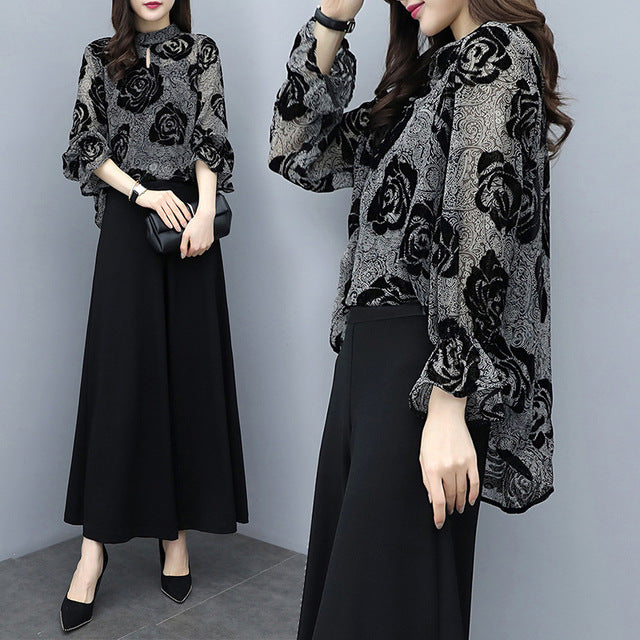 Fall Elegant Black Flower Flare Sleeve Chiffon Blouse&Wide-leg Pants Two Piece Set Women