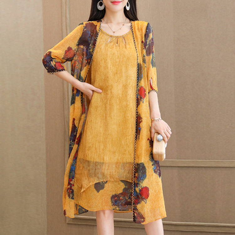 Elegant Yellow Flower Printed H-line Chiffon Dress&Coat Two Piece