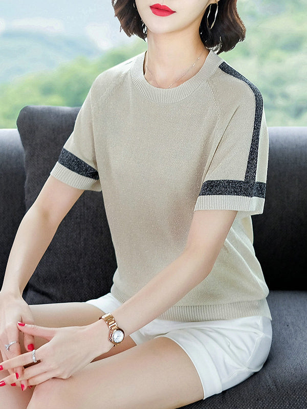 Summer Retro Blue/Black/Apricot Chilled Ice Silk Striped T-shirt Crew Neck Tops