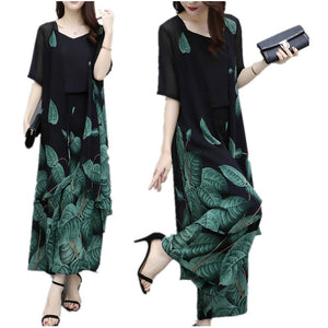 Summer Elegant Green Leaf Printed Half Sleeve Chiffon Camisole&Coat&Pants Three Piece Set