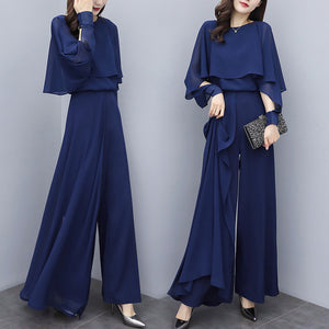 Summer Elegant Blue/Black Solid Color 3/4 Sleeve Chiffon Tops&Culotte Two Piece Set