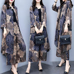 Fall Elegant Printed Long Sleeve Chiffon Loose Midi Coat&Capri-pants Two Piece Set