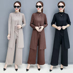 Fall Elegant Black/Coffee/Beige Solid Color Knit Blouse&Coat&Wide-leg Three Piece Set Women