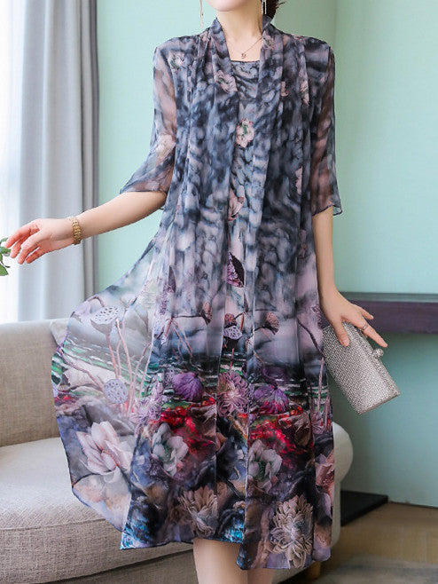 Elegant Beautiful Plus Size 1/2 Sleeve Printing Silk Midi Dress&Coat Set Women