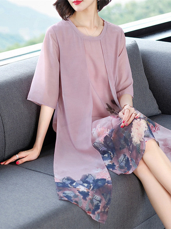 Summer Elegant Plus Size Leaves Printed 1/2 Sleeve Chiffon Dress