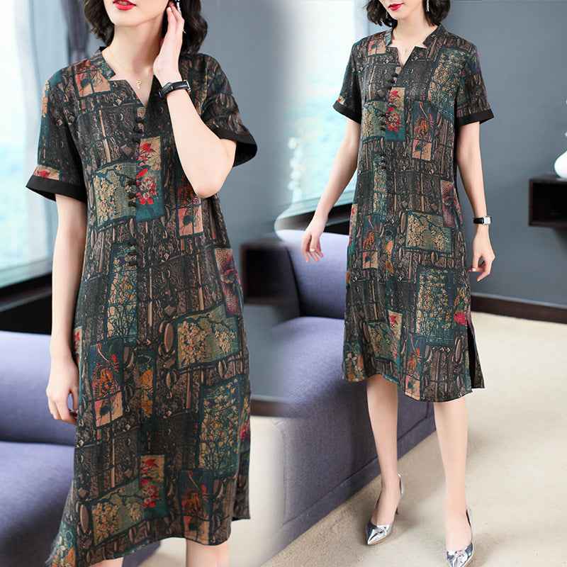 Elegant Plus Size Printing H-line V-neck Silk Midi Dress Women