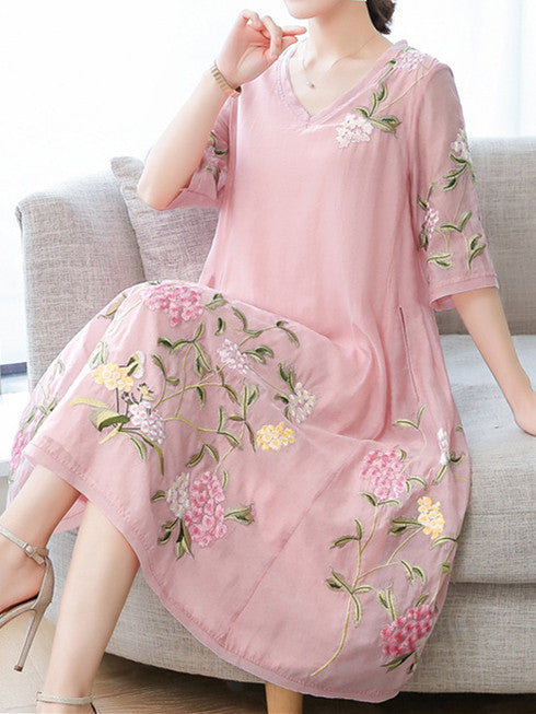 Summer Elegant Sweet Pink Fairy Embroidery V-neck Loose Silk Dress Women