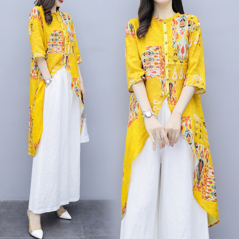Summer Elegant Yellow Printed Half Sleeve Cotton Linen Tops&Culotte Two Piece Set