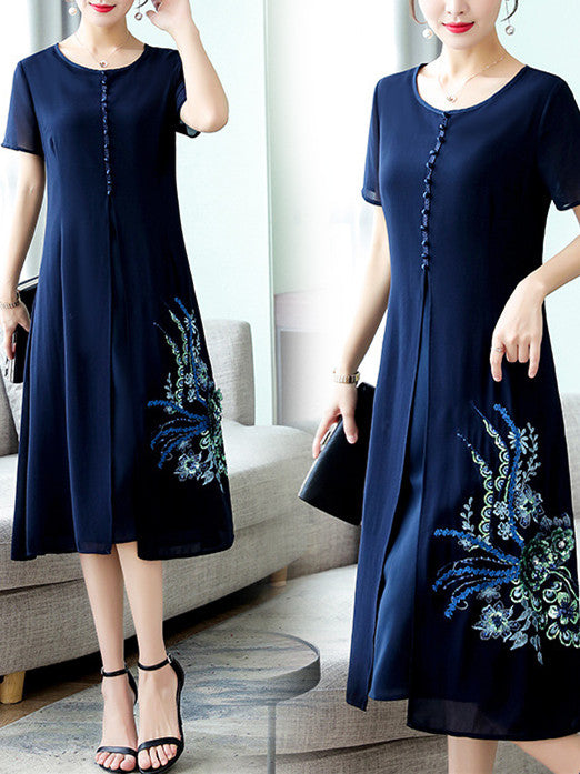 Summer Elegant Blue Embroidery Chiffon Midi Dress