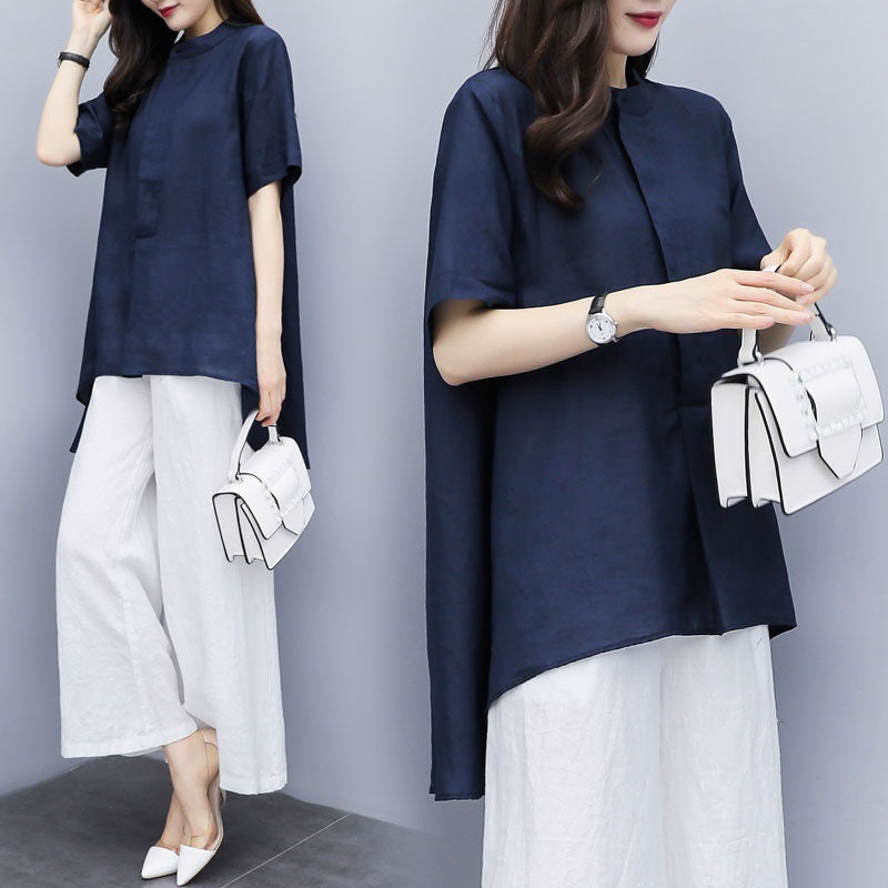 Plus Size Summer Elegant Blue Solid Color Short Sleeve Cotton/Linen Loose Tops&Culotte Two Piece Set