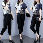 Summer Elegant Printed Short Sleeve Chiffon Blouse&Capri-pants Two Piece Set
