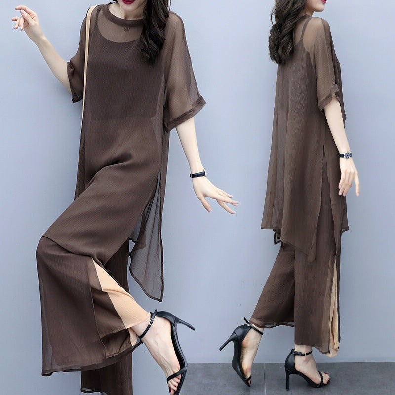 Summer Elegant Coffee Half Sleeve Chiffon See-through Tops&Capri-pants Two Piece Set
